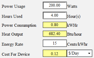 Perfect Power Consumption And Cooling Calculator