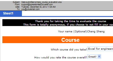 Screenshot of an e-mail from the advanced Submit Service