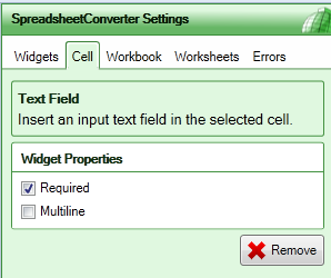 Screenshot of the Text Field widget settings