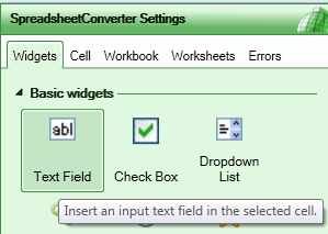 Screenshot of the widget list in the SpreadsheetConverter Settings panel