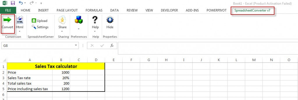 Screenshot of the sales tax calculator in Excel