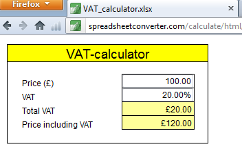 Create a simple VAT calculator - Spreadhseet Converter