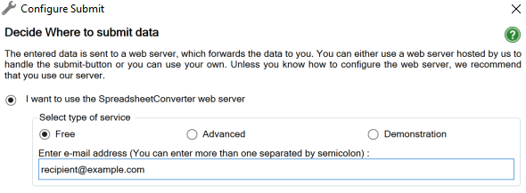 Screenshot of the Configure Submit window for the Free Submit Service