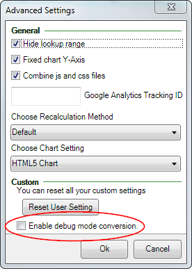 Screenshot of the Debug mode conversion checkbox in the Advanced settings
