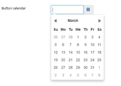 Screenshot of an example of the Calendar widget