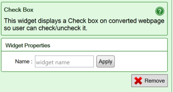 Screenshot of the settings for the Checkbox widget