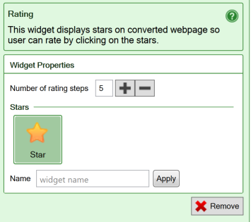 Screenshot of the settings for the Rating widget