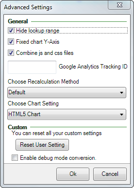Screenshot of the Advanced settings