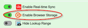 Screenshot of the Enable Browser storage setting on the Workbook tab