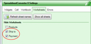 Screenshot of the Worksheets tab with two worksheets automatically hidden