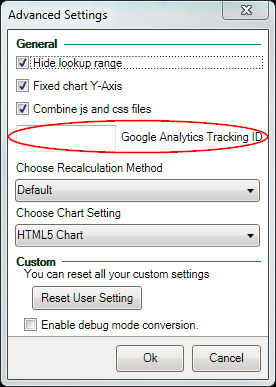 Screenshot of the Google Analytics Tracking ID in the Advanced Settings