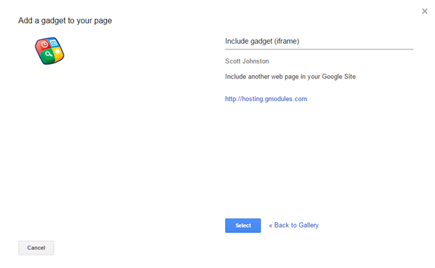 Screenshot of the Select gadget window in Google Sites