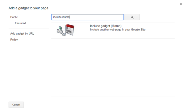 Screenshot of the search gadget window in Google Sites