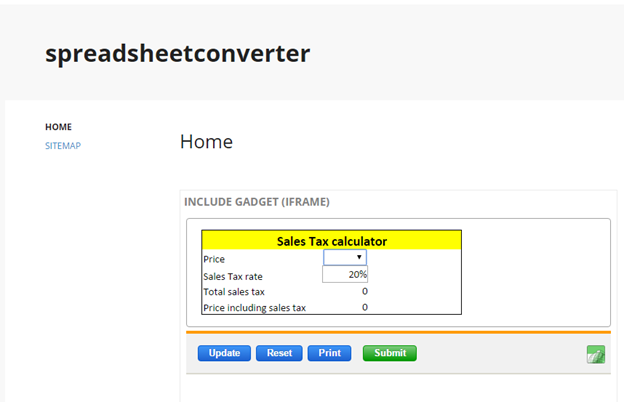 Screenshot of the sales tax calculator in Google Sites