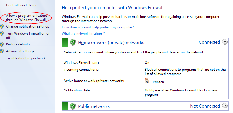 Screenshot of the WIndows Firewall Control Panel in Windows 7