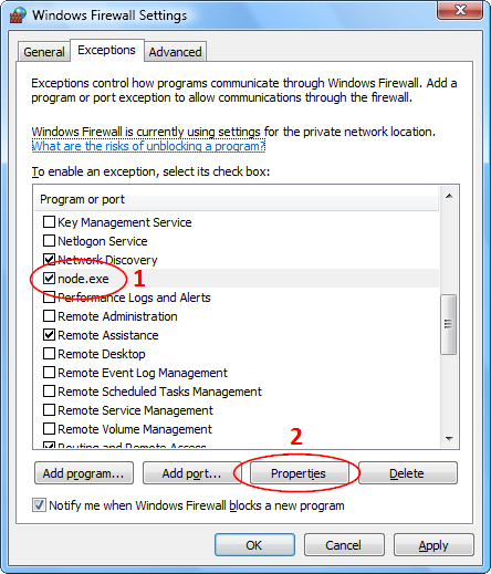 Screenshots of the Windows Firewall Exceltions tab in Windows Vista