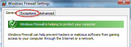 Screenshot of the Windows Firewall settings in WIndows Vista