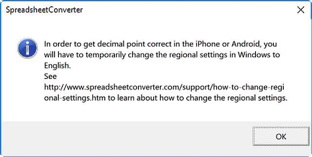Screenshot of the message to change the regional settings