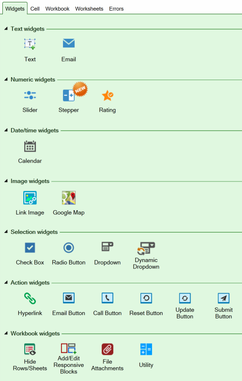 Screenshot of the Widgets tab of the task pane in version 9