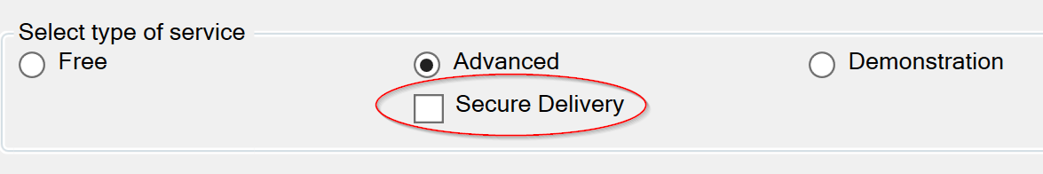 Screenshot of the Secure Delivery option in Configure Submit