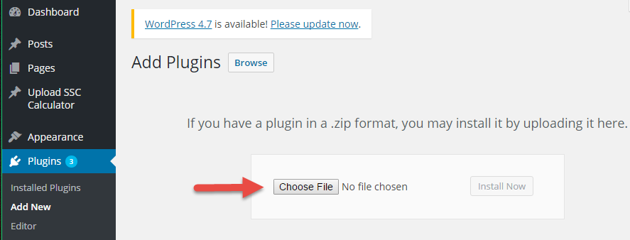 choose plugin file step