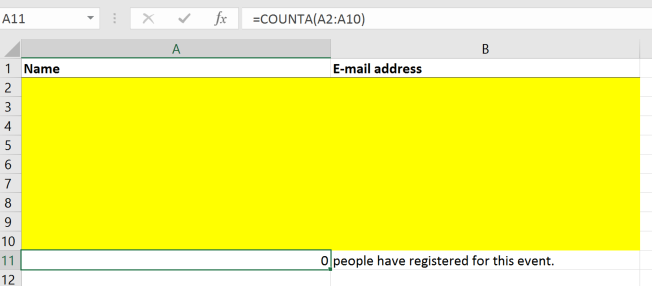 Screenshot of the signup-list in Excel with input fields colored yellow and a participant counter
