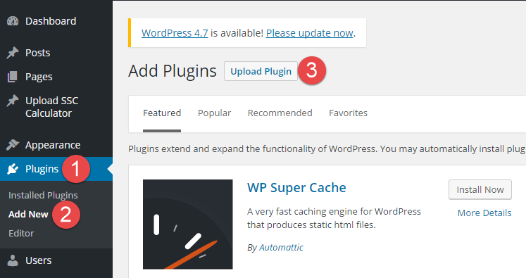 upload wordpress plugin step