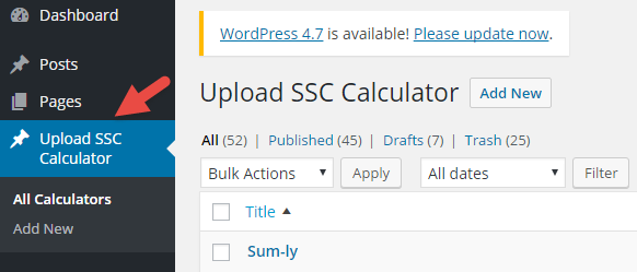 upload calculator menu in wordpress