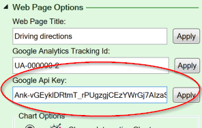 Screenshot of the Google Maps API key setting on the Workbook tab of the task pane