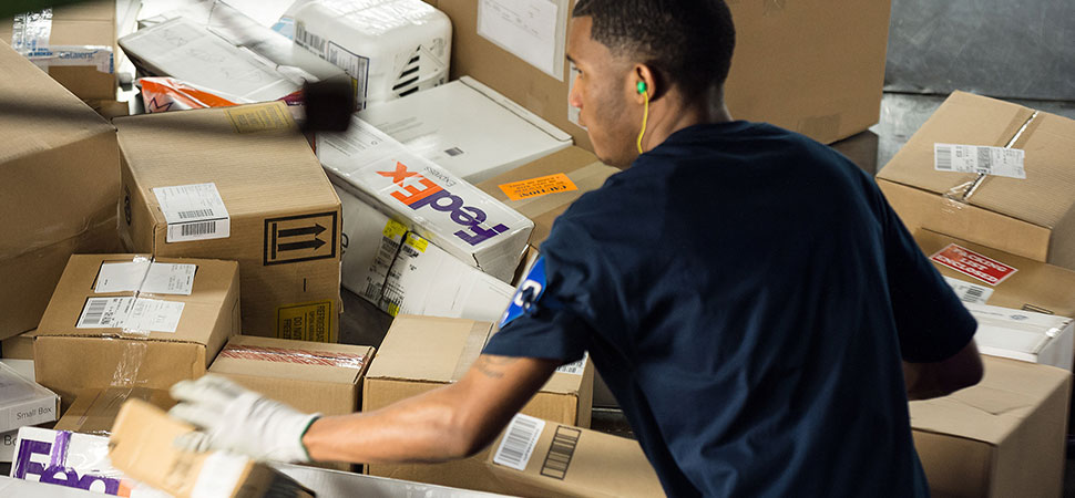 Photo of a Fedex employee sorting parcels