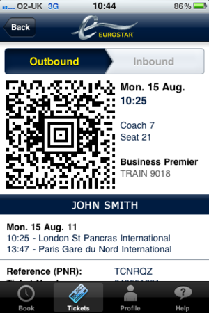 Screentshot of a Eurostar train ticket from London to Paris with a QR code