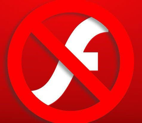 "The logo for Adobe Flash, struck over by a ""forbidden"" traffic sign"