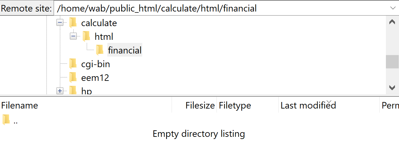 Screenshot of the destination folder in the Remote pane in File Zilla