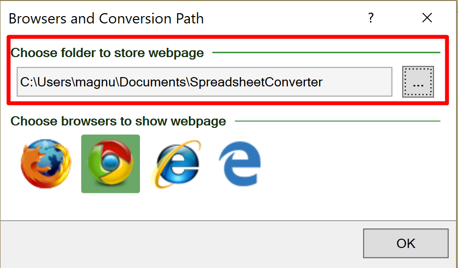 Screenshot of the Conversion path setting