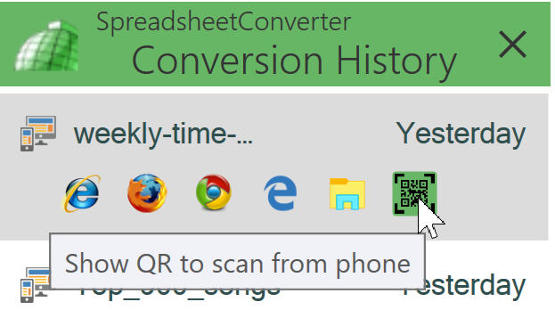 Screenshot of the browser and QR code icons in the conversion history