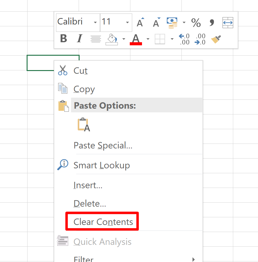 Screenshot of the right-click menu for cells in Excel