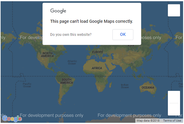 Screenshot of a Google Map that cannot be loaded because of problems with the Google API key