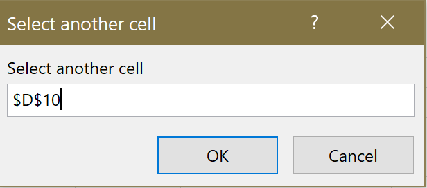 Screenshot of the Select another cell window