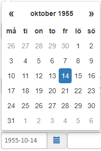 Screenshot of a calendar when the developer has Swedish regional settings