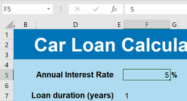 The car loan calculator in Excel