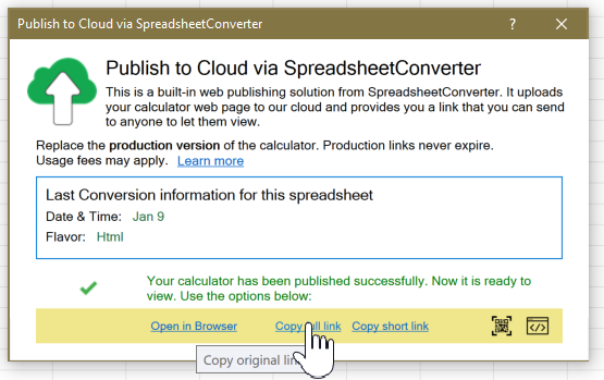 Screenshot of the Copy full link button in the Publish to Cloud window