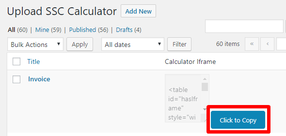 Screenshot of the Click to Copy button for an uploaded calculator