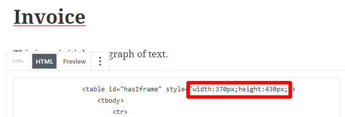 Screenshot of how you adjust the width and height in the embed code