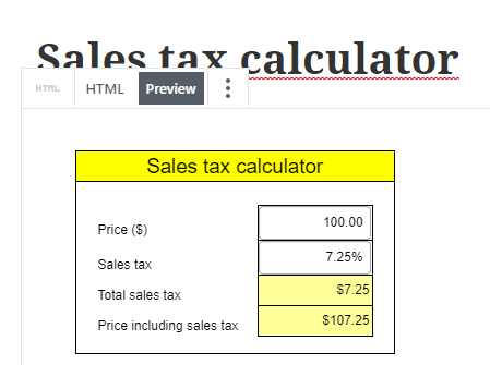 Screenshot of an embedded calculator in a prview of the WordPress Block editor